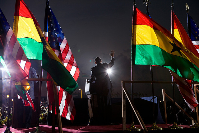 A picture of President Barack Obama giving a speech in Accra, Ghana on July 11, 2009.