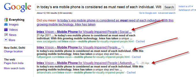 A screenshot from a Google search that shows how plagiarized material is visible online. Three arrows point to sites that have the exact same text.