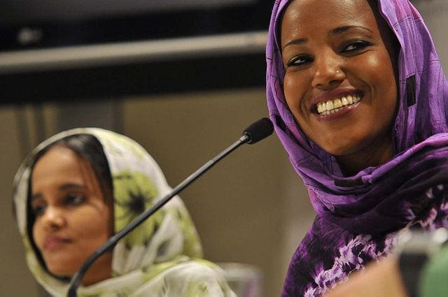 "A picture of Aziza Brahim and Memona Mohamed during a press conference presentation of the movie ""Wilaya"" at the 10th Human Rights film festival in San Sebastian, Spain."