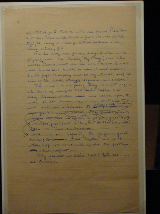 A picture of handwritten speech notes by President Ronald Reagan. It shows that he drafted his speech and crossed out certain parts.