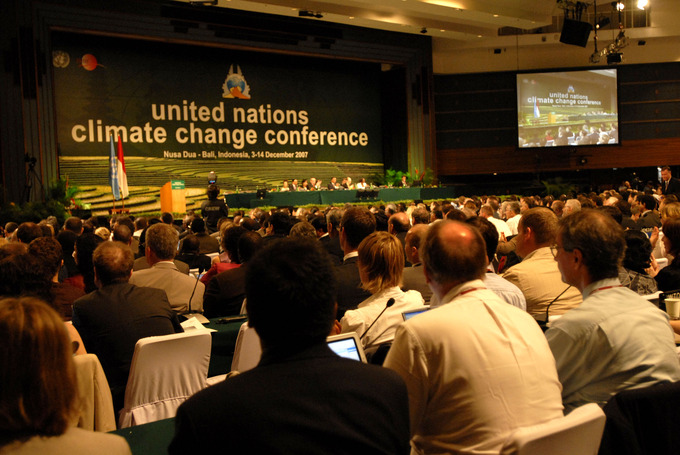A picture of an audience at the United Nations Climate Change Conference.