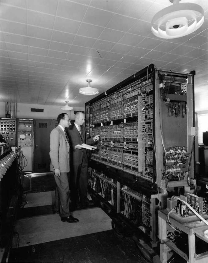 A picture of AVIDAC, one of the earliest digital computers, in 1953.
