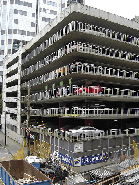 A picture of a multi-level parking garage.