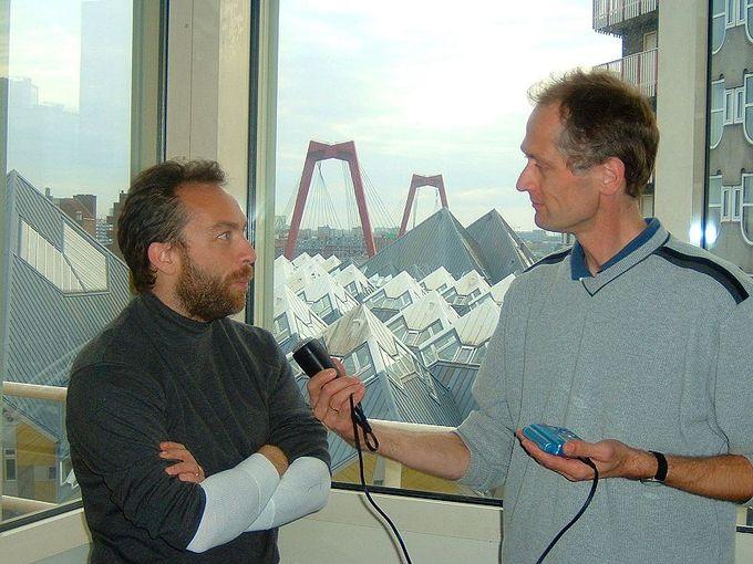 Jimbo Wales being interviewed by Herbert Blankesteijn.