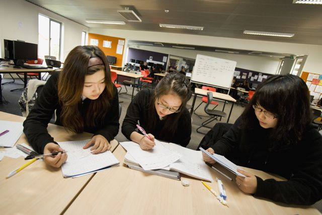 A picture of three students studying.