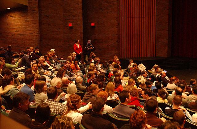 An audience waiting to hear Canadian politician Justin Trudeau speak at the University of Waterloo's Humanities Theater.