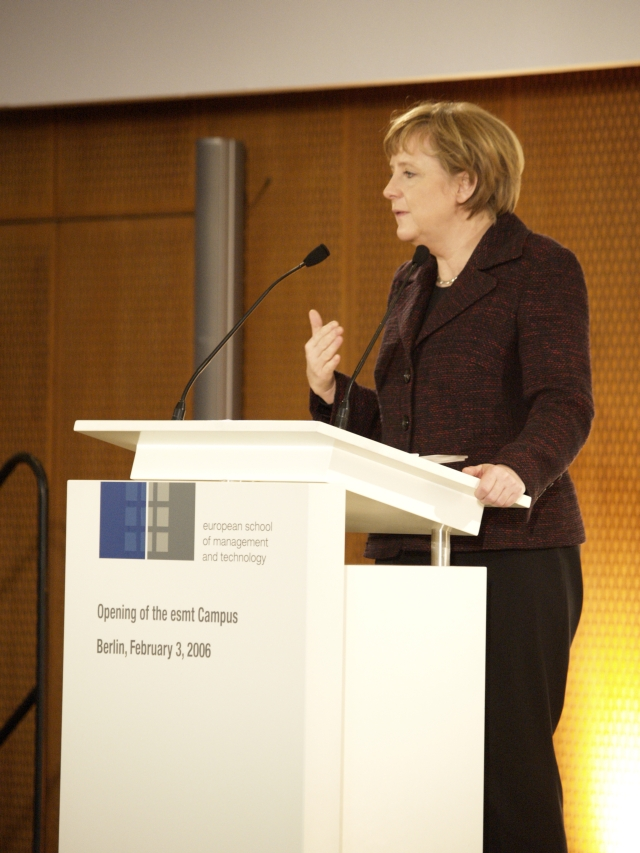 German Chancellor Angela Merkel giving a keynote speech.
