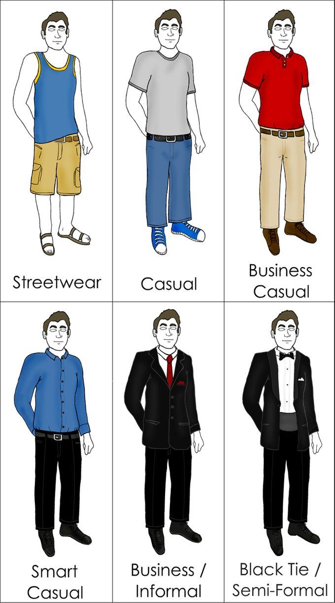 The image shows six drawings of the same man wearing streetwear, casual, business casual, smart casual, business/informal, and black tie/semi-formal clothing.