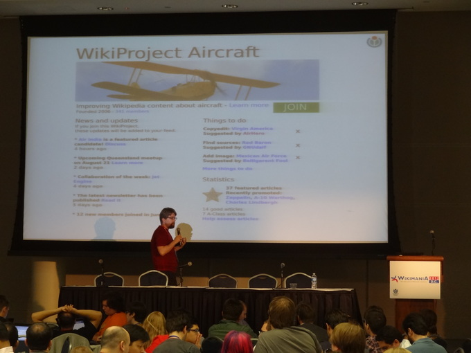 Erik Möller speaking about a visual redesign of WikiProject main pages in his presentation on 'The purpose-driven social network: Supporting WikiProjects with technology' at Wikimania 2012.