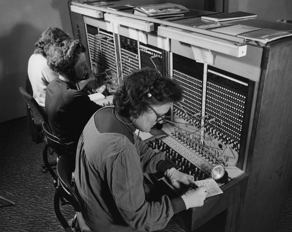 A switchboard staff making connections in 1979.