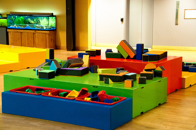 A room filled with oversized building blocks for children.
