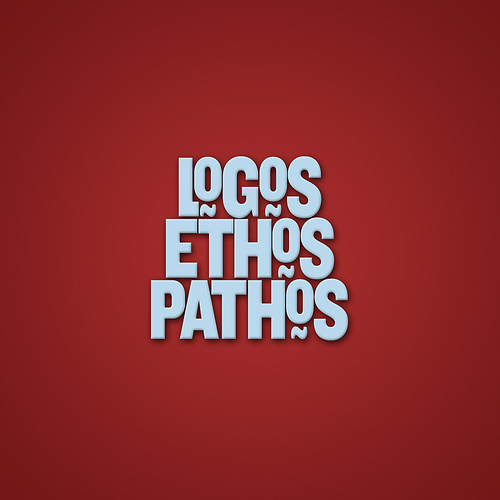 "The words ""logos,"" ""ethos,"" and ""pathos."""