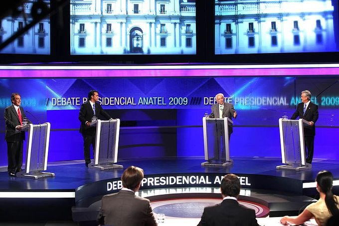 Four candidates take part in the Chilean Presidential Debate.
