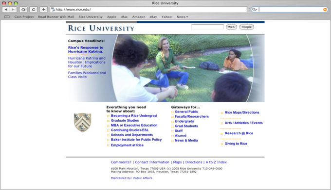 A screenshot from the Rice University website that illustrates how to use bullet points.