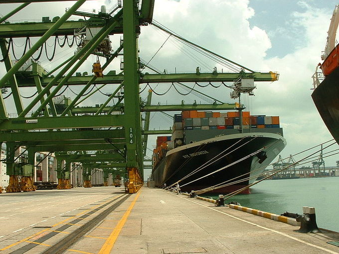 A large ship at the Port of Singapore.