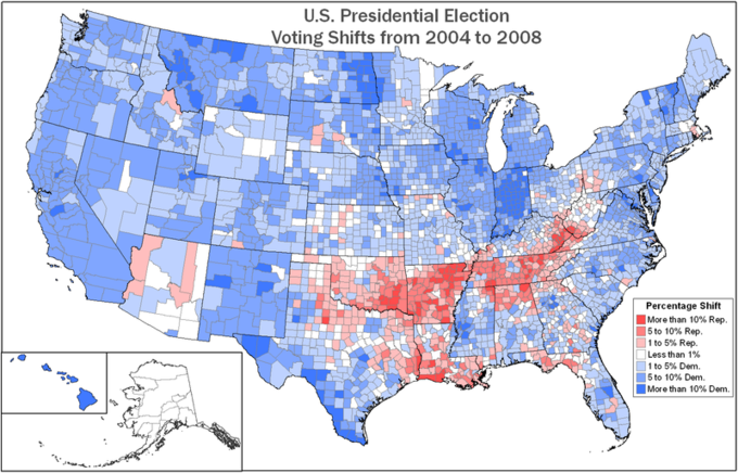 Voting Shifts By County Between The 2004 And 2008 Presidential Election Voter Identification Is Shown No Where More Clearly Perhaps Than During