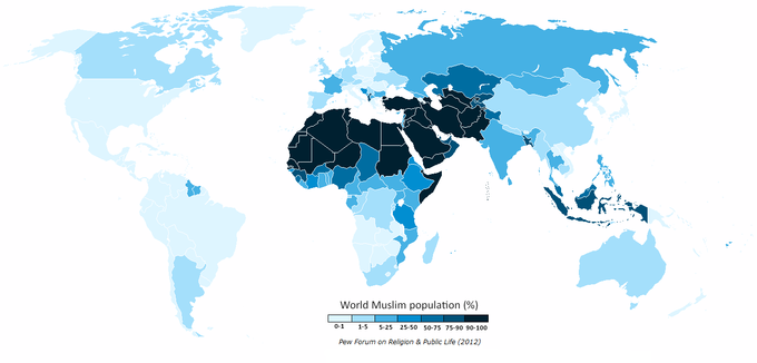 Worldwide Muslim Population As The Map Shows Certain Regions Are Dominated By Widespread Beliefs