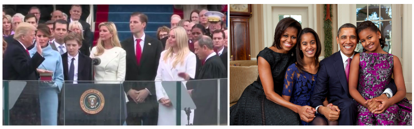 Photos of President Trump with his family at his inauguration and of President Obama with his family in the White House.