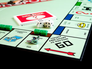 An image of a corner of a Monopoly game board