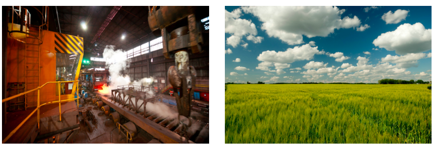 Image of an active steel mill on the left and wide open wheat fields on the right.