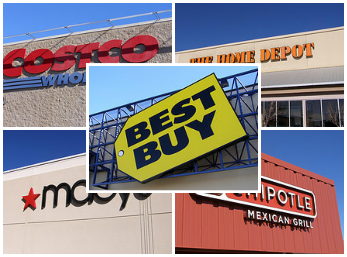 Picture collage showing the storefronts for Costco, Best Buy, Macy's, The Home Depot, and Chipotle