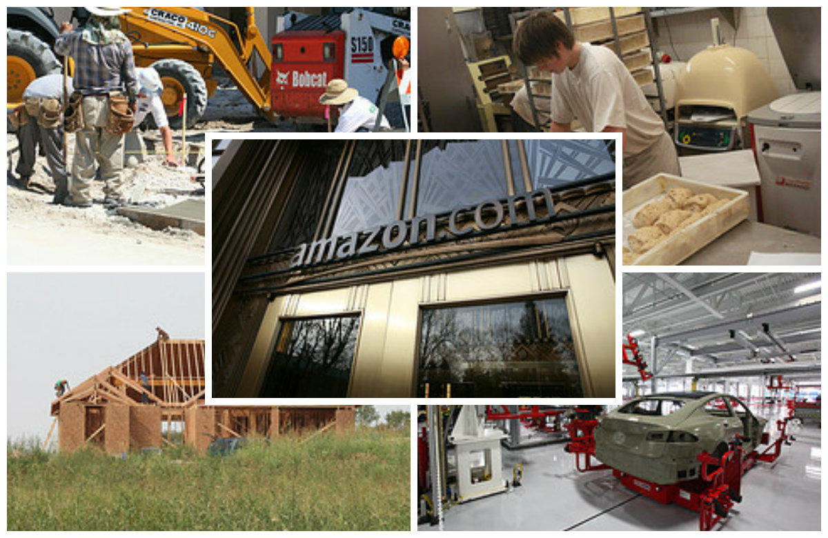 Collage with five images. One shows construction workers fixing a road, the other shows someone rolling out dough in a bread machine, the frame of a house under construction, the frame of a car inside a manufacturing plant, and the storefront for Amazon.com