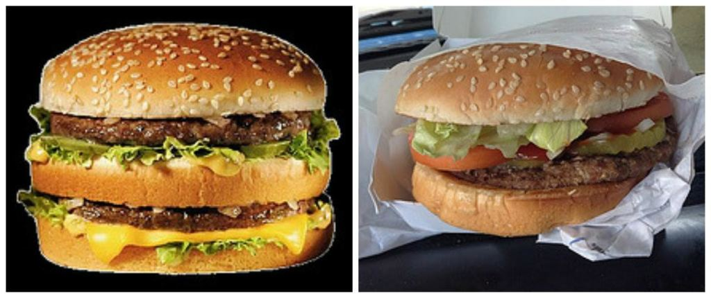 Side-by-side picture of McDonald's Big Mac and Burger King's Whopper