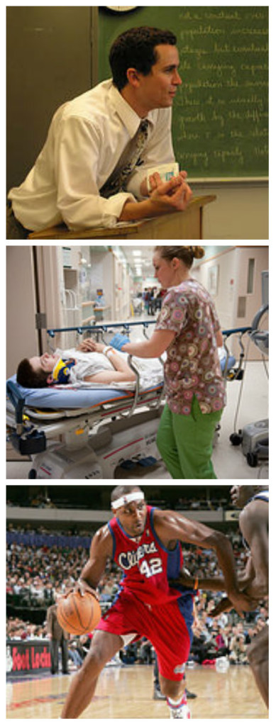 Three photographs. The first shows a teacher leaning against a podium at the front of a classroom, the second shows a nurse with a patient in the hospital, and the third shows a professional basketball player.