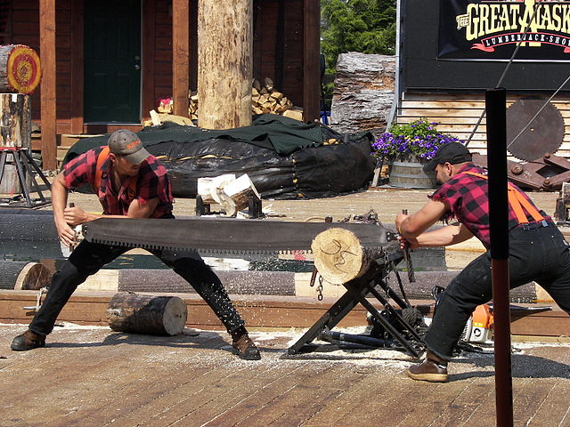 Image of two men at a crosscut saw event.