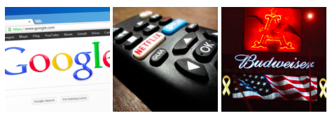 3 images: google search engine screenshot, TV remote showing Netflix button, and Budweiser advertisement