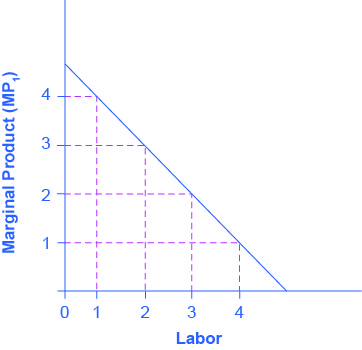 Downward sloping line with marginal product on the y-axis and labor on the x-axis. The line starts at 4.5 and moves down with a slope of negative 1.