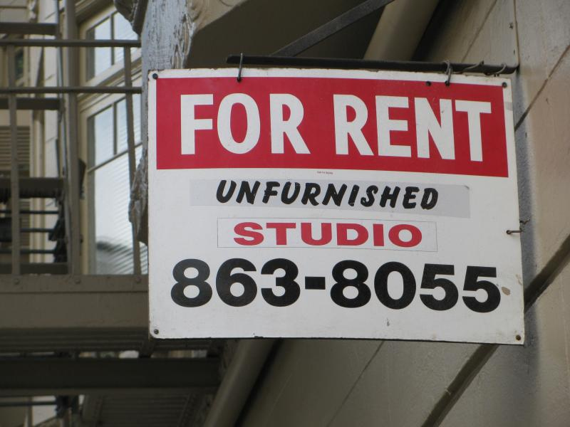 For rent sign: unfurnished studio 863-8055.
