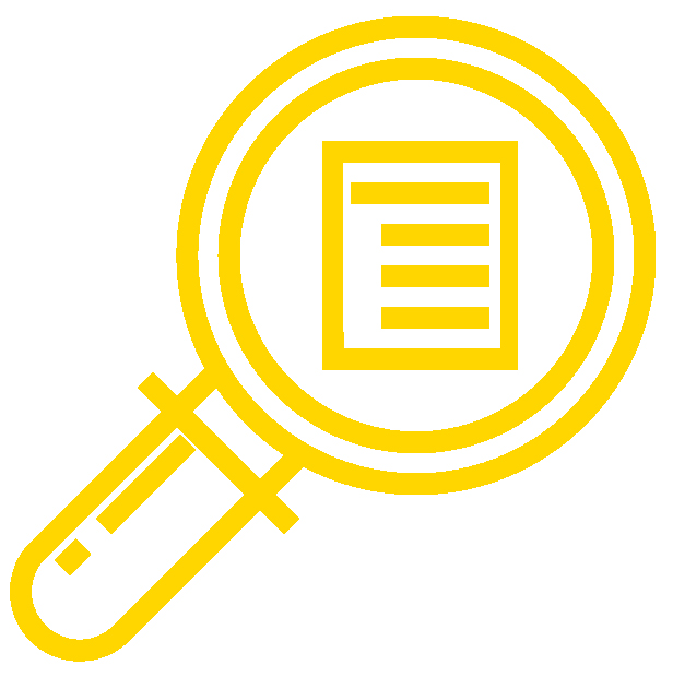 icon of a magnifying glass over a list