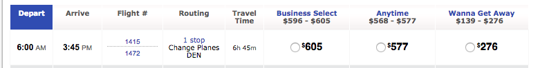 The least expensive flight is $276, while the Business Select flight that provides access to the express lane for security is $605.