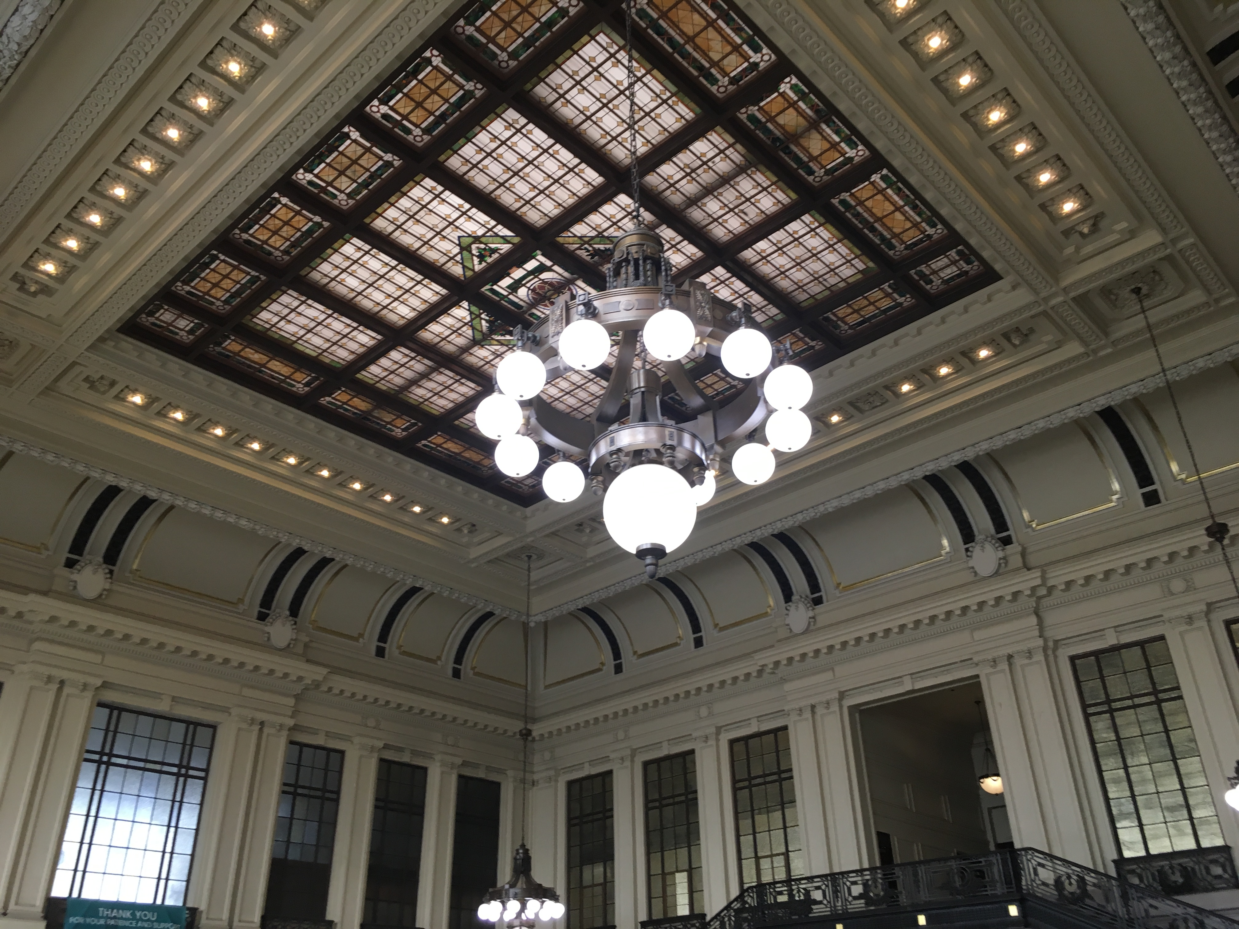 Photo of a pretty train station ceiling