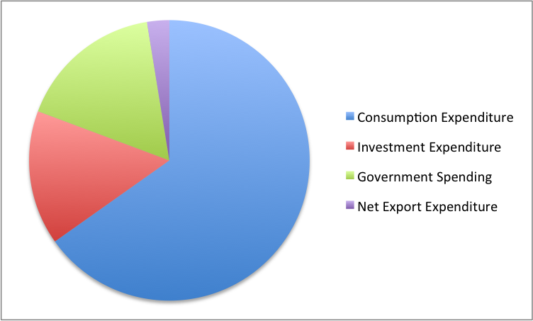 Pie chart showing that consumption expenditure is 68% of the pie, investment expenditure is 16%, government spending is 17%, and net export expenditures at nearly negative 3%.