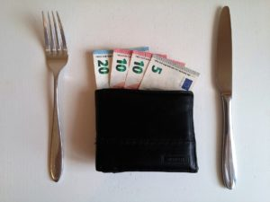 Fork and knife as a table setting with money and a wallet as the plate.