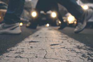 walking across a street line