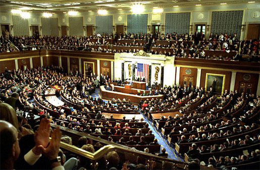 Photo of the congressional chamber when President George W. Bush delivers his State of the Union address to the nation and a joint session of Congress in the House Chamber at the U.S. Capitol Tuesday, Jan. 28, 2003