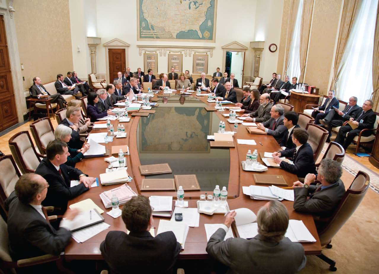 Modern-day meeting of the Federal Open Market Committee at the Eccles Building, Washington, D.C.