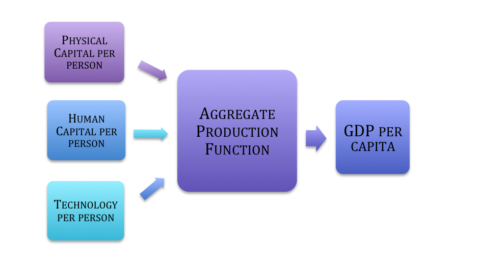 Flow diagram showing physical capital per person, human capital per person, and technology per person flowing to the aggregate demand function, which flows towards gdp per capita.