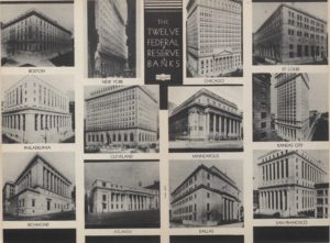 Photo collage of the 12 regional Federal Reserve Banks in the Federal Reserve.