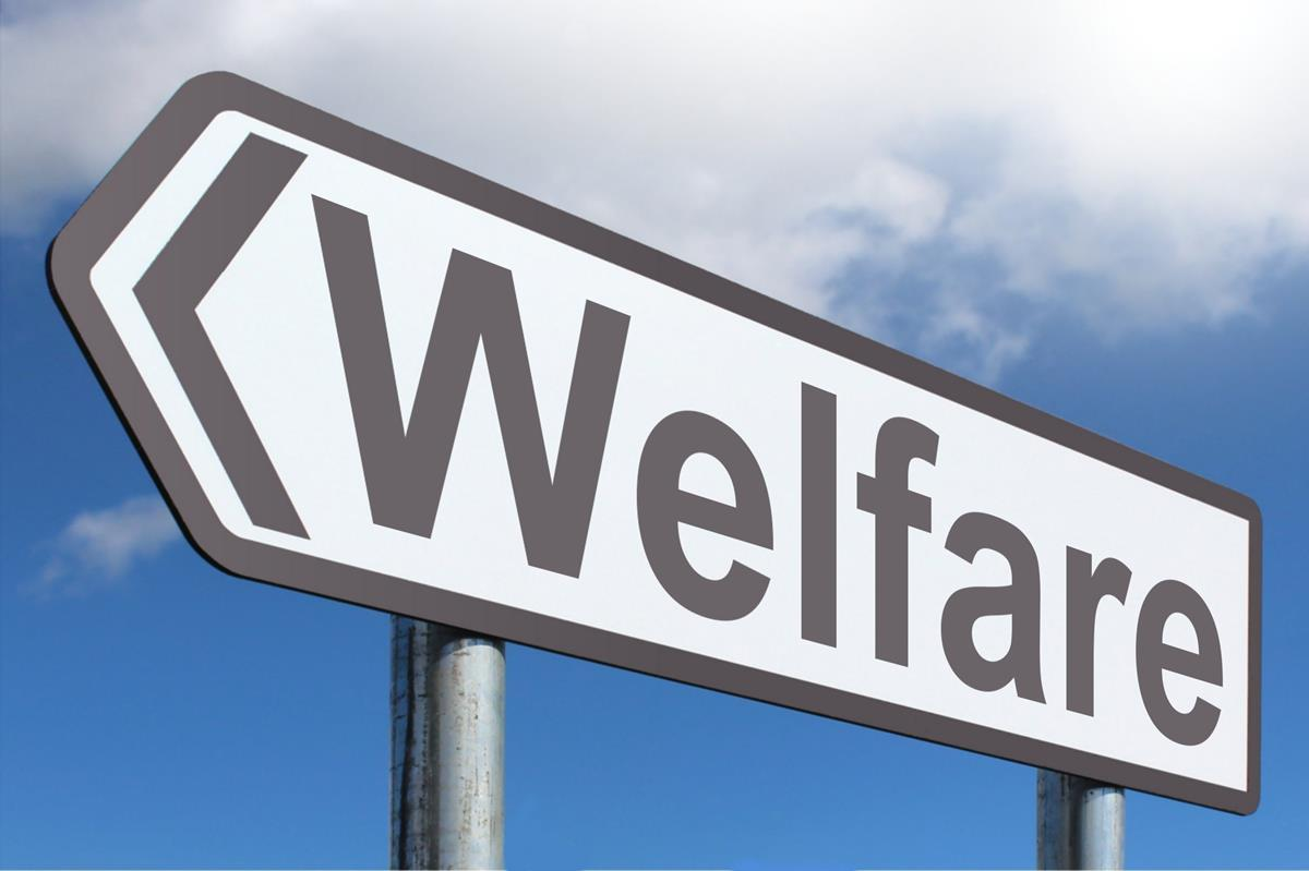 Sign that says welfare.
