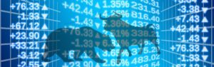 The image has a silhouette of a bear and bull facing off against each other. The image has a background of stock exchange numbers.