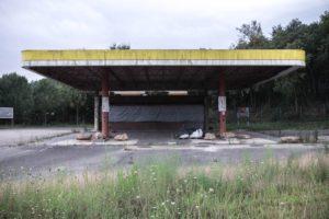 Old, decrepit gas station.