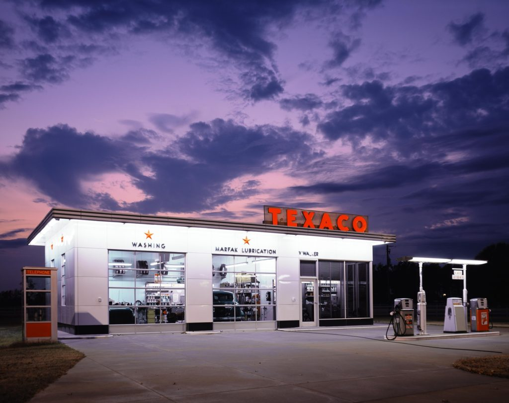 Texaco gas station with two gas pumps.
