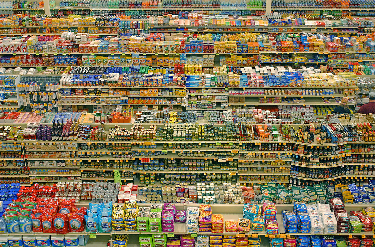 An aerial shot of grocery aisles.