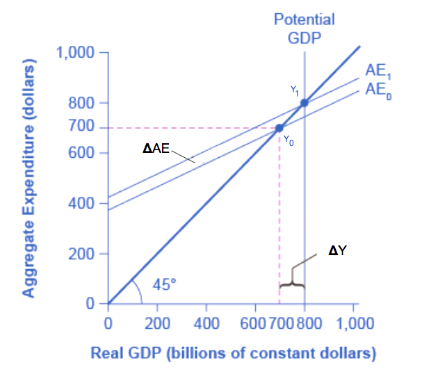 The graph shows the multiplier effect in the expenditure-output model: an increase in expenditure has a larger increase on the equilibrium output.