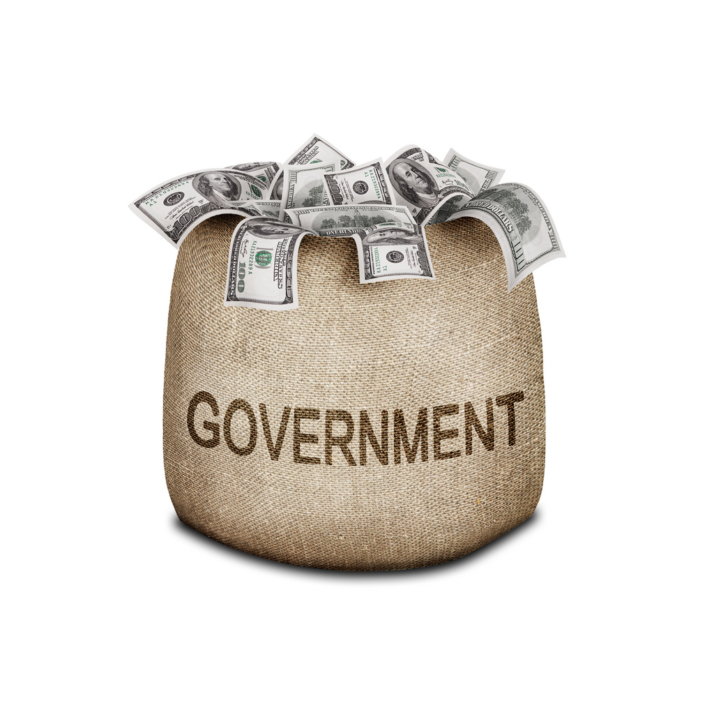 Bag of money with the word government printed on the side.