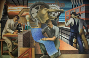 The Wealth of the Nation by Seymour Fogel depicts five men in different fields of work.
